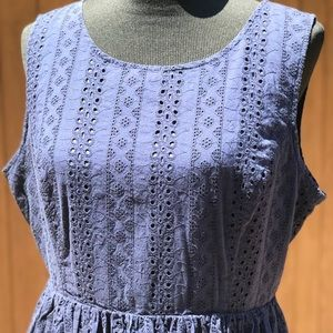 LC Navy Blue Eyelet Cotton Fit Flare Pleated Dress